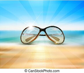 Vector sunglasses lying on the beach in the sand on a background of blue sea, ocean.