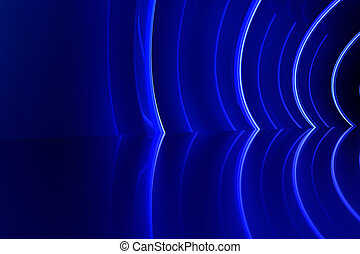 Abstract glossy interior with blue light lines. 3d rendering