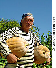 senior gardener with pumpkins