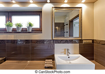 Brown bathroom with mirror above sink