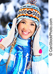 Winter woman - Beautiful happy woman in the winter forest
