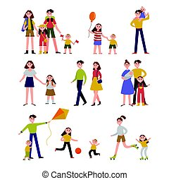Family activity and leisure. Family set colorful characters with parents and children vector Illustrations