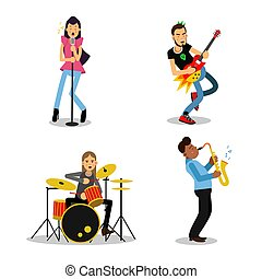 Musician characters with different musical instruments, vector Illustrations