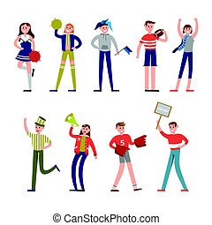 Happy sport fans and supporters characters. Support for baseball team vector Illustrations