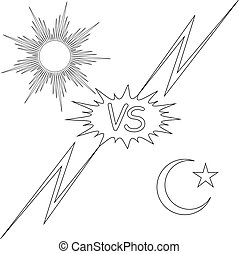 day and night vs the sun and the moon star, vector concept...