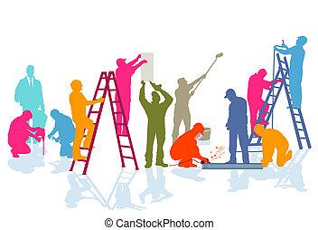 Handwerker-Farben - A group of craftsmen working on the...