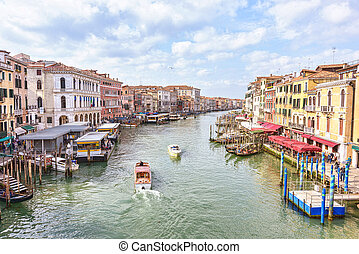 Boats at Grand Canal in Venice. Scenice Italian Lagoon -...