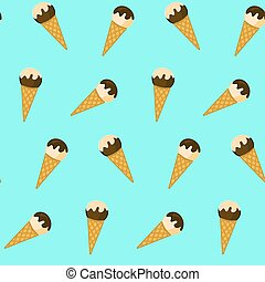 Cute pattern with ice cream in waffle cones