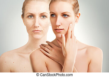 deep age changes on woman`face - age changes on woman`face