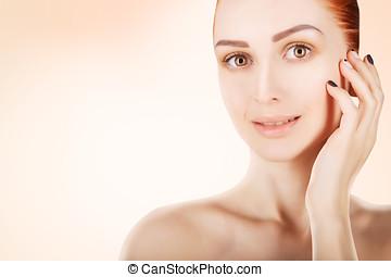 mulher, conceito,  haired, impressionante, saúde, fundo, pele, branca, vermelho