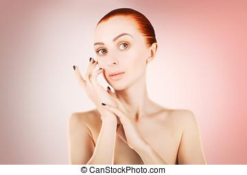 Cor-de-rosa, mulher, conceito,  haired, impressionante, saúde, fundo, pele, vermelho
