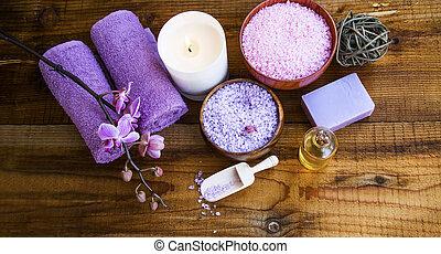Spa setting products still life with bath salt - Spa setting...