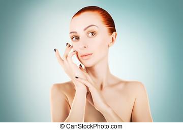 azul, mulher, conceito,  haired, impressionante, saúde, fundo, pele, vermelho