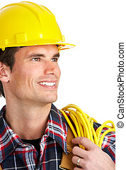 electrician - Young handsome electrician in yellow uniform...