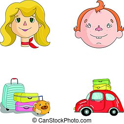 Camping, woman, boy, bag .Family holiday set collection icons in cartoon style vector symbol stock illustration web.