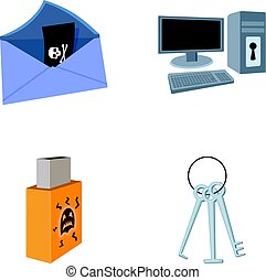 Virus, monitor, display, screen .Hackers and hacking set collection icons in cartoon style vector symbol stock illustration web.