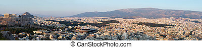 Huge panorama of Athens and Acropolis,famous landmark...