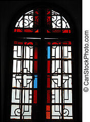 Fragment of stained glass window in indian church,Cochi,Kerala