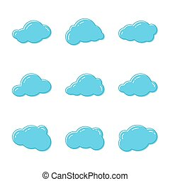 Cloud vector icons. - Cloud icons. Sky blue atmospheric...