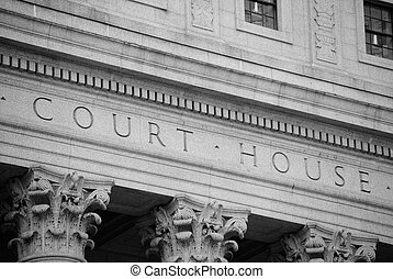 Court House Exterior - Marble courthouse building facade in...