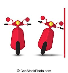 Funny Red Motobike Isolated on White Bacground. Vector...