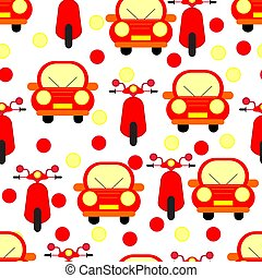 Funny Red Cars and Motobikes Seamless Patterns Isolated on...