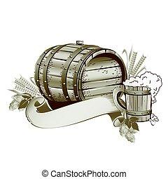 Wooden beer barrel still life Vintage