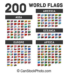 Set of world flags - Flags of the world waving in the wind,...
