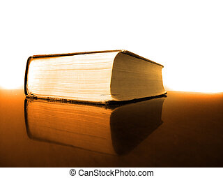 Book on Desk with Reflection Library