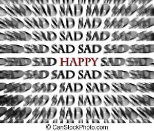Sad and Happy Words in Black and Red Opposites