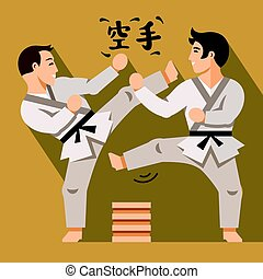 Vector Karate Fight. Flat style colorful Cartoon illustration.