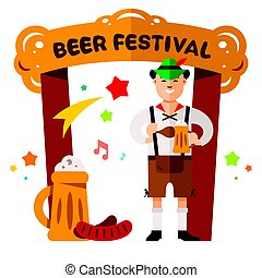 Vector Beer Festival in Germany Concept. Flat style colorful Cartoon illustration.