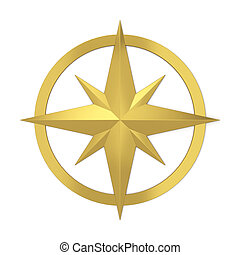 Compass rose symbol. 3d illustration isolated on white...