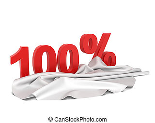 Discount sign with cloth cover. 3d illustration isolated on...