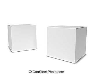 Blank square box. 3d illustration isolated on white...