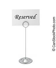 Reservation card. 3d illustration isolated on white...