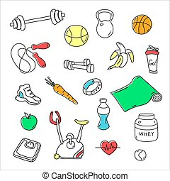 Hand drawn fitness doodles. Isolated set