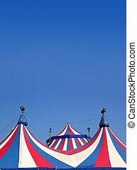 Circo, barraca, sob, azul, céu, coloridos, listras