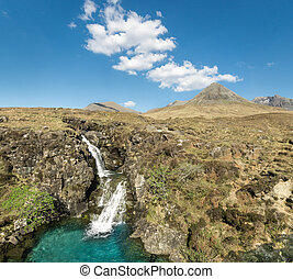 Waterfall in Glen Brittle valley. Cuillin Hills. Isle of...