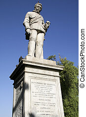 Founder of Chile - Statue of Pedro de Valdivia, the first...