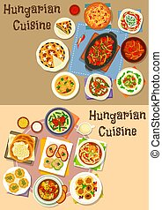Hungarian cuisine lunch icon set for food design - Hungarian...