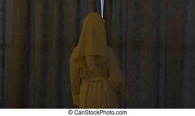 A young, beautiful woman in a white coat comes to the window, opens the curtains and looks at him.
