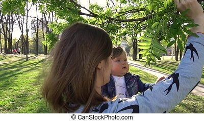 Baby looking at big tree in the park