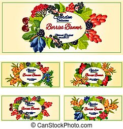 Berry and fruit banner set for food label design - Berry on...