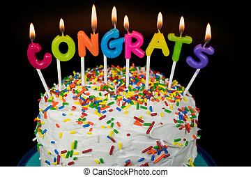 congrats candles on cake - colorful congrats candle on...