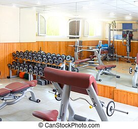 Gym interior bodybuliding weights exercise room - Gym...