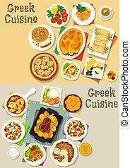 Greek cuisine tasty lunch dishes icon set - Greek cuisine...