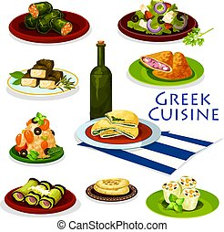 Greek cuisine healthy food cartoon icon design - Greek...
