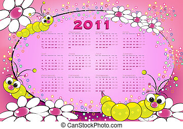 2011 calendar with grubs and flowers,