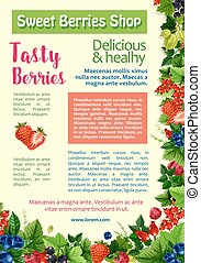 Fresh berry, fruit, healthy food poster template - Fresh...